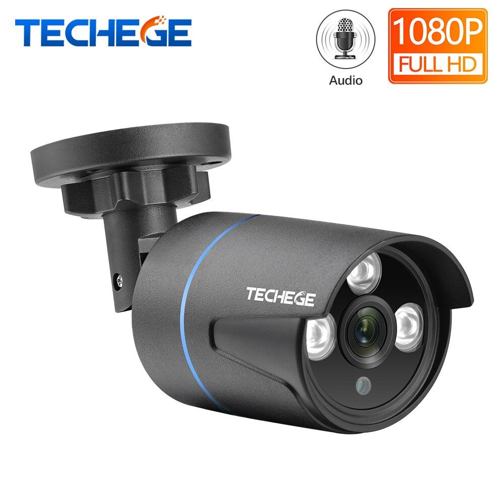 Techege h.265 1080 p ip câmera gravação de áudio rtsp ftp onvif hd 2mp impermeável ao ar livre detecção de movimento dc 12 v ou 48 v poe opcional