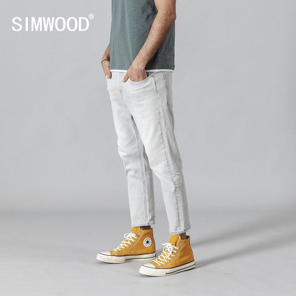 SIMWOOD 2019 Washed Vintage Ripped   Jeans   Men Fashion Light Grey Slim Fit Ankle-Length Denim Trousers Fashion High Quality   Jeans