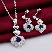 925 sterling silver jewelry,925 silver fashion jewelry blue Crystal heart necklace&earrings jewelry sets for women SS772(China)