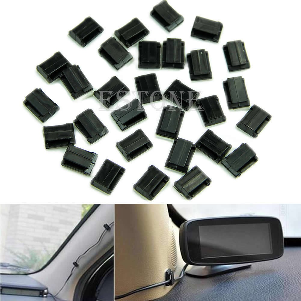 30pcs Car Wire Cord Cable Holder Tie Clips Fixer Organizer Drop Adhesive Clamp