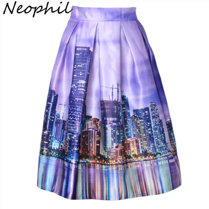 Neophil 2020 Women Vintage Venice Street Building Printed High Waist Pleated Skater Flared Pink Tutu Satin Midi Skirts S1607029