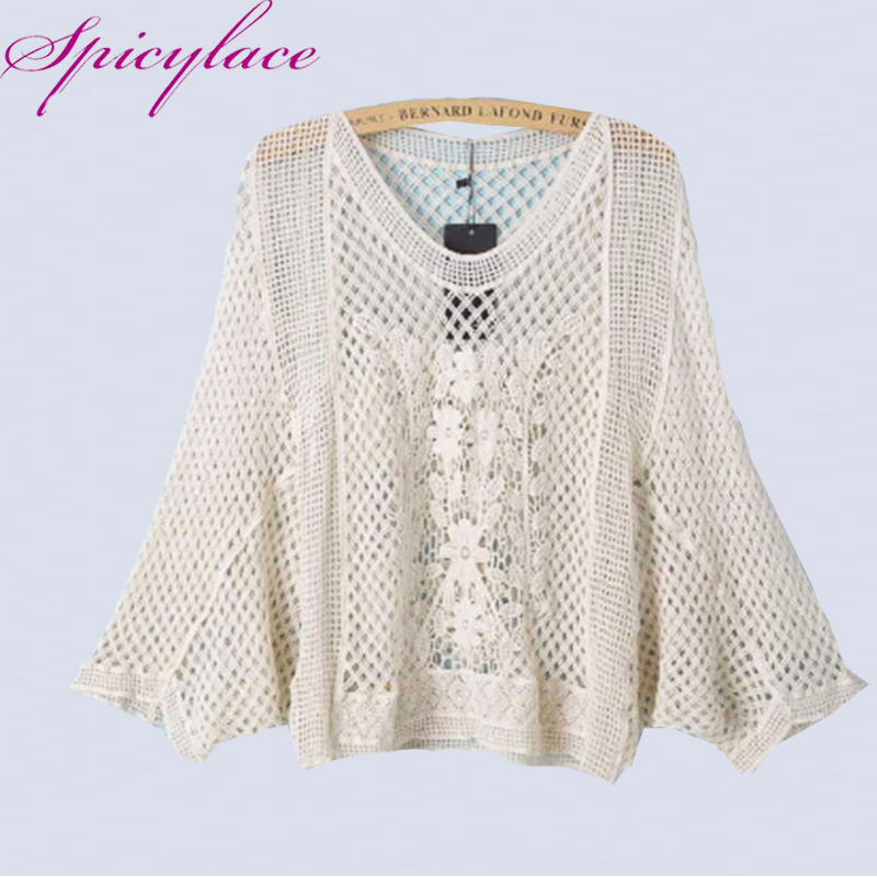 Spicylace Bohemian Beach Style V Neck Hollow Out Batwing Sleeve Loose Butterfly Lacework Tropical Lace Blouses Tops Summer Beige