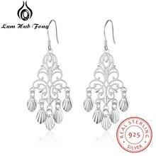 925 Sterling Silver Fancy Chandelier Earrings for Women Hollow Dangle Drop Earrings Wedding Statement Earrings (Lam Hub Fong)