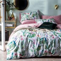Papa&Mima Peas and leaves print Egyptian cotton Queen size Luxurious bedding set duvet cover flat sheet pillowcases