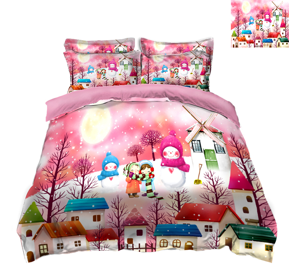 pink 3D Bedding Set Twin Full Queen California king BedSheet Linen Double Bed Duvet bed Cover Pillowcase Christmas decorations
