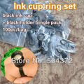 100 PCS Permanent Makeup Disposable Finger Ring Ink Cups With Sponge