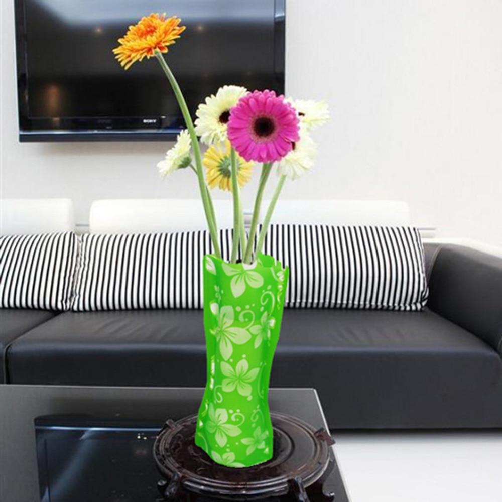 2pcs plastic unbreakable vase foldable reusable flower for Quality home decor