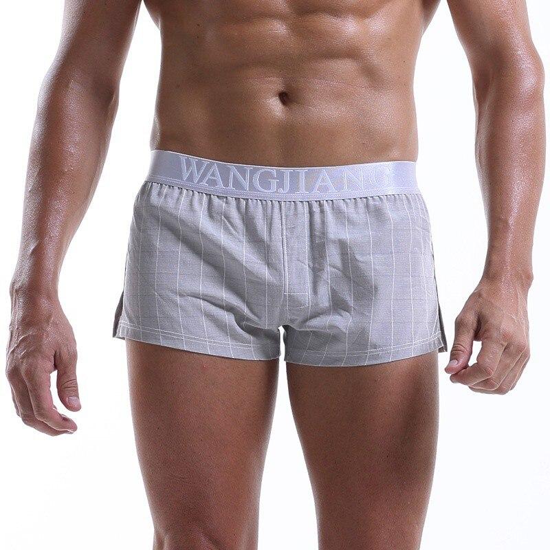 Men's Cotton Underpants High Quality Loose Pouch Home Sleep Wear Shorts Panties Men Underwear Boxer Shorts Plaid Men Boxers