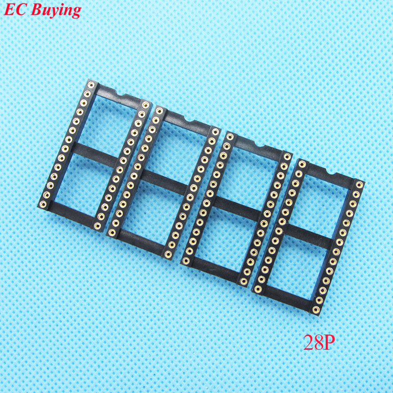 17pcs Round Hole <font><b>28</b></font> Pin 2.54MM <font><b>DIP</b></font> IC <font><b>Socket</b></font> Adaptor Solder Type Wide Connector (If you need other quantity, please contact us ) image