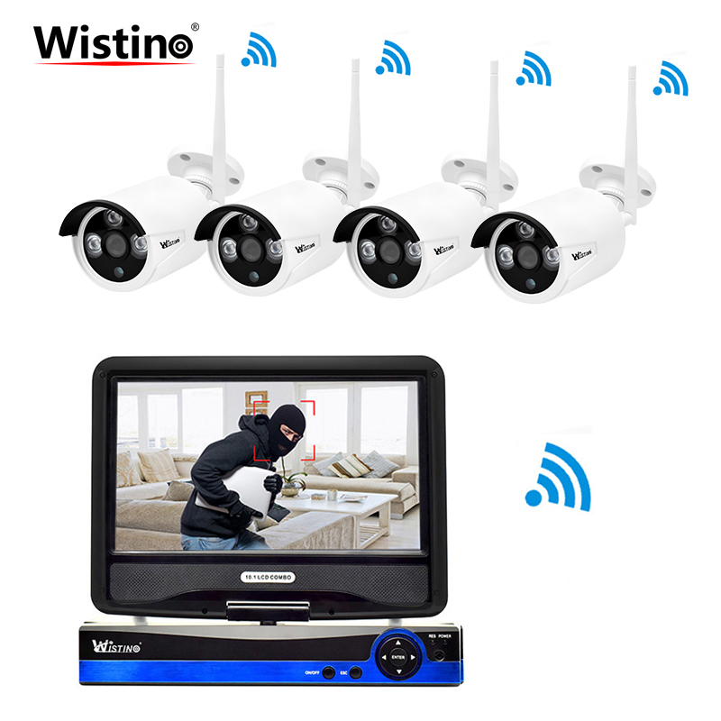 Wistino Security WIFI Kit HD 960P NVR CCTV Camera System IP Cameras Outdoor Surveillance Video Monitor Wireless LCD Screen P2P