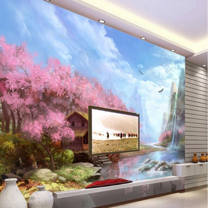 beibehang Custom large - scale murals beautiful hand - painted Tiehua valley landscape TV background wall non - woven wallpaper