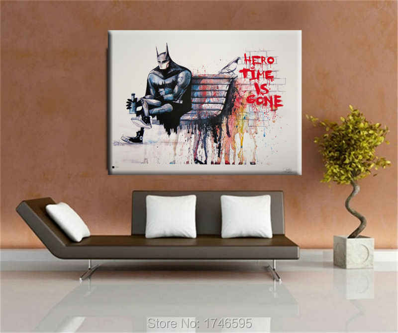 Banksy Hero Time is Gone CANVAS Art Print Home huge canvas painting wall pictures for living room wall art decorative pictures