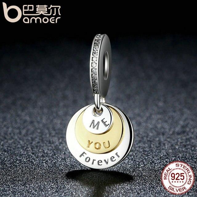 BAMOER Regalo Romantico 925 Sterling Silver You & Me Per Sempre, cancella CZ Rotonda Del Pendente di Fascini misura il Braccialetto Gioielli FAI DA TE PSC017