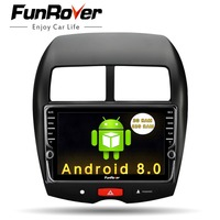 Funrover 2 din android Car DVD Player multimedia For Mitsubishi ASX 2011 2015 Peugeot 4008 Citroen C4 Aircross GPS Radio Stereo