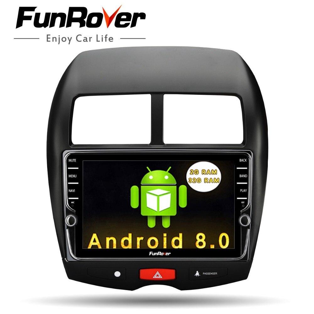 Funrover 2 din android DVD de Voiture Lecteur multimédia Pour Mitsubishi ASX 2011-2015 Peugeot 4008 Citroen C4 Aircross GPS radio Stéréo