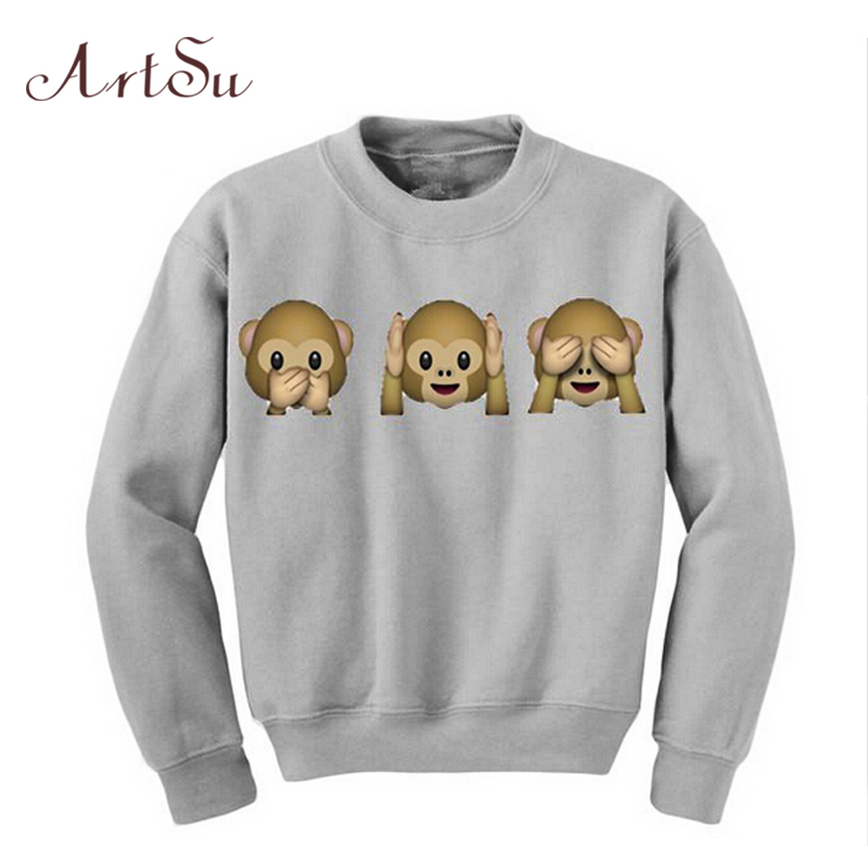 ArtSu New 2019 Autumn Monkey Patterns Long Sleeve O-Neck Women Sweatshirt 3D emoji Print Women Clothing Fleece Hoodies EPHO80020
