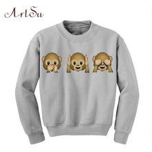 ArtSu New 2019 Autumn Monkey Patterns Long Sleeve O-Neck Women Sweatshirt 3D emoji Print Women Clothing Fleece Hoodies EPHO80020
