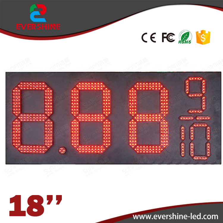 18'' red 7 Segment Oil and Gas fuel/diesel 8.889/10 digital numbers led gas/oil/petrol station price display sign board screen 100 pcs ld 3361ag 3 digit 0 36 green 7 segment led display common cathode