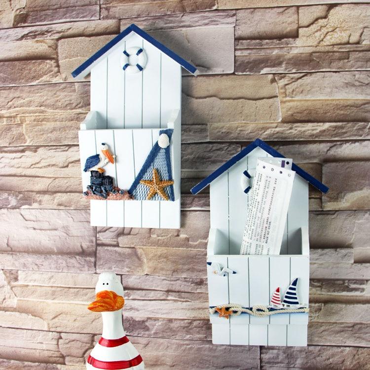 Étagère murale en bois style méditerranéen | Boîte à clés, insérer les lettres, décor, boîte de rangement pour courrier créative