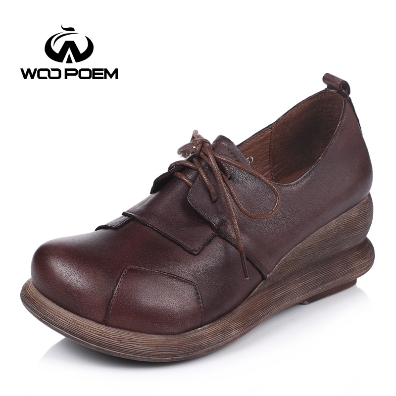 ФОТО WooPoem Spring Autumn Shoes Women Breathable Cow Leather Pumps Lace-Up Wedges High Heels Shoes Classic Retro Women Pumps 6672