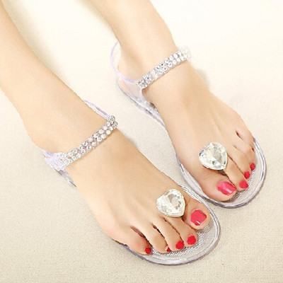 New Summer Peach Stones Sandals With Flat Clip Toe Plastic Jelly Shoes Flat Transparent Crystal Sandals