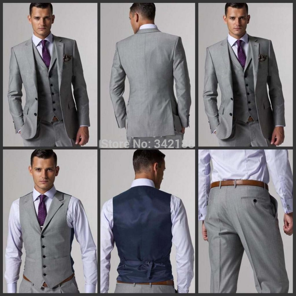 FREE EMS!!New Side Slit Two Buttons Slim Fit Light Grey Groom Tuxedos Groomsmen Men Wedding/Dinner Suits Jacket+Pants+Tie+Vest