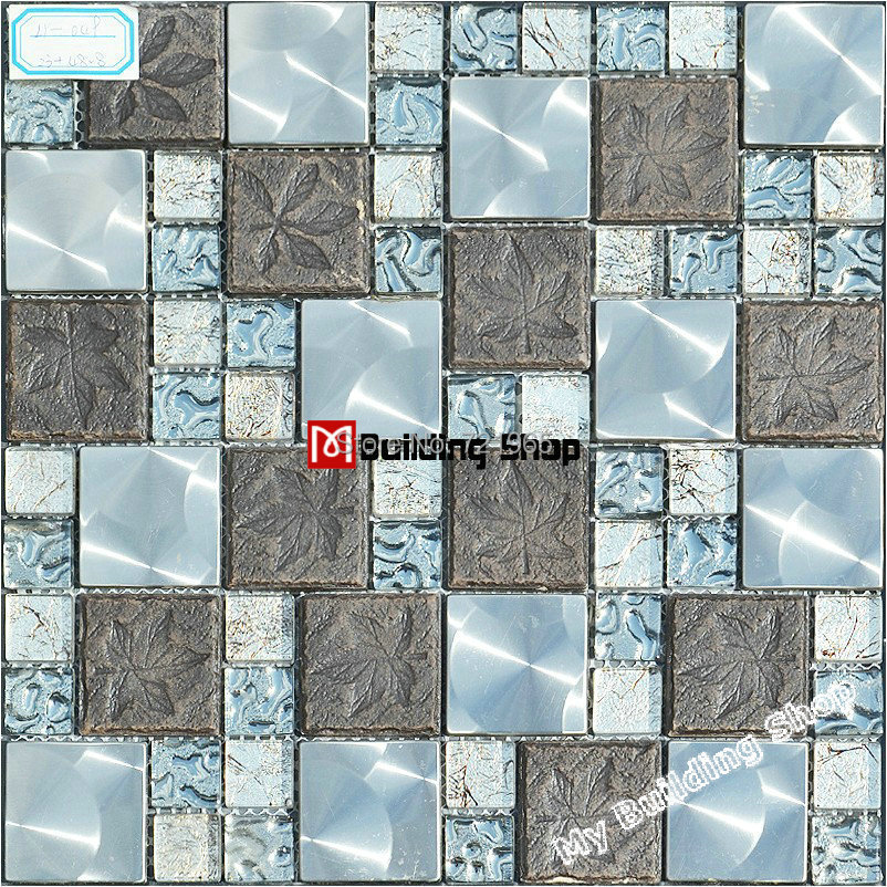 Gl Metal Mosaic Kitchen Backsplash Tile Ssmt122 Blue Grey Ceramic Silver Stainless Steel Bathroom Wall Tiles On Aliexpress Alibaba