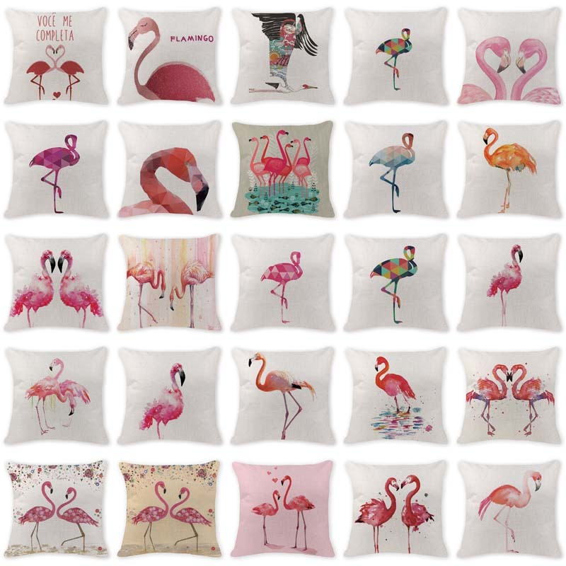 Animal Pillowcase Minimalist Flamingo Watercolor Cushion Covers Camping Cotton Linen Home Decor Pillows Throw Pillowcover