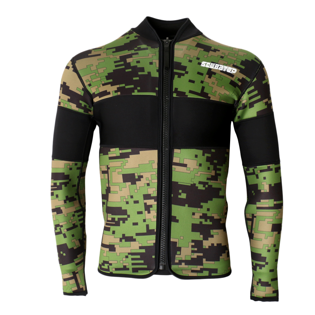 2.5mm Neoprene Green Camo Scuba Diving Wetsuit Top Snorkel Surf Jacket S/M/L/XL/XXL for Bodyboard Surfing Rafting Boating Acce женское платье other 2015 o vestidos s m l xl xxl