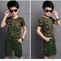 2016 summer  Children 's  camouflage short - sleeved  pullover o-neck boys's sports  two - piece suit  zk