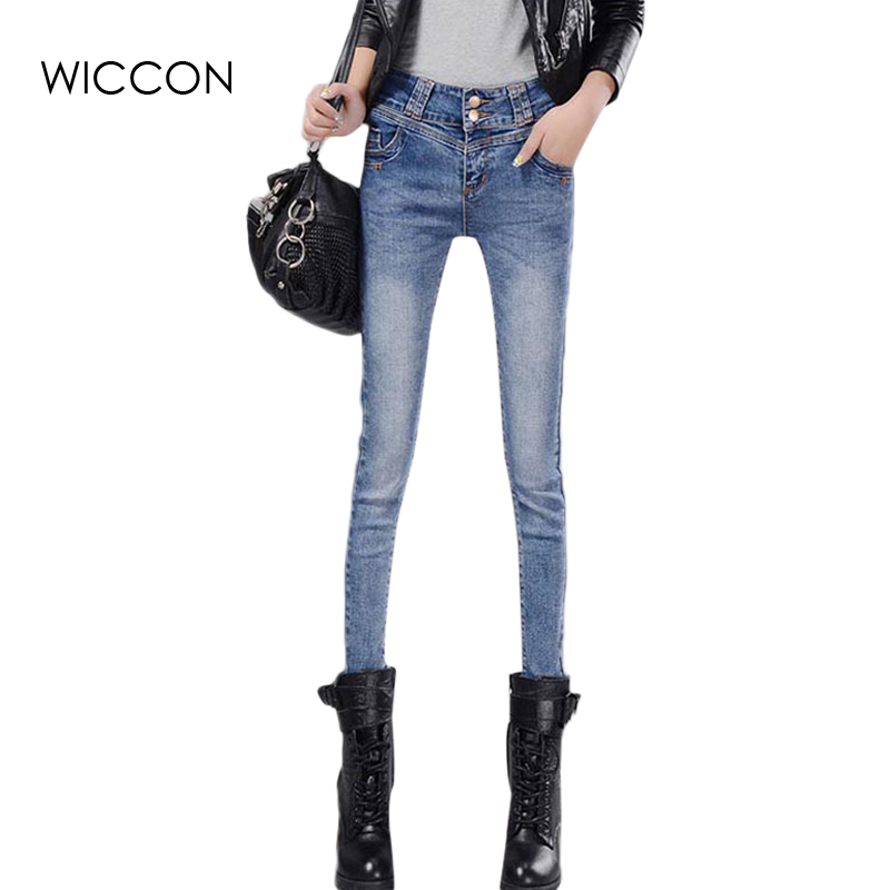 Slim Pencil Jeans For Women New Autumn Skinny Pants Female Stretch Straight Fashion High Waist Jeans Femme Denim Pants WICCON 2017 new fashion spring women denim skinny slit pencil pants holes high waist stretch jeans trousers women s pants wiccon