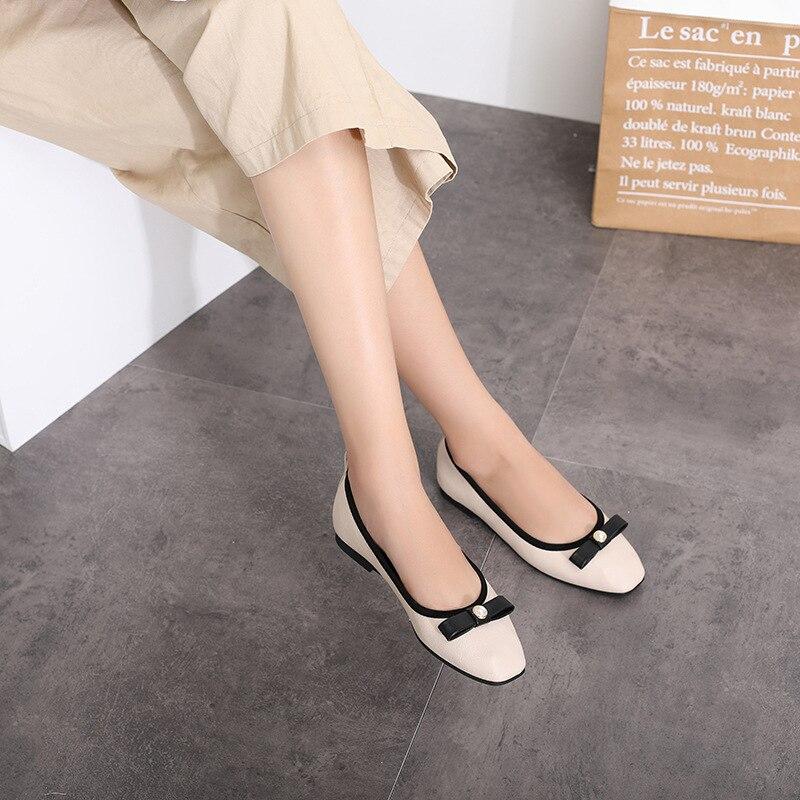 Décontractées Printemps Simple Beige Nouvelle Confortable A Nœud 2019 Et noir Femmes Plates Style Mode Doux Chaussures Rétro qTwFxXd