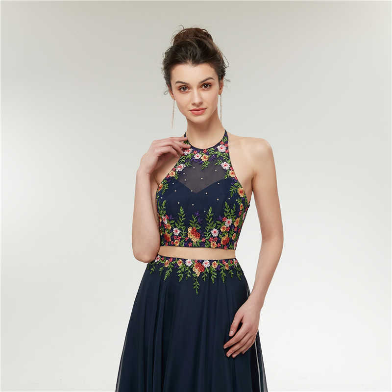 49adbb3c85 ... Sexy 2 Piece Prom Dresses 2018 Long A-Line Beads Embroidery 3d Flowers Evening  Dresses ...