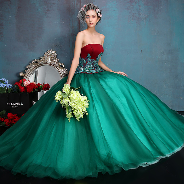 c9bf32969ea Vestido Debutante Red   Green Quinceanera Dresses Ball Gowns Sweet 16  Dresses Masquerade Ball Gowns Vestidos De 15 Anos 2017
