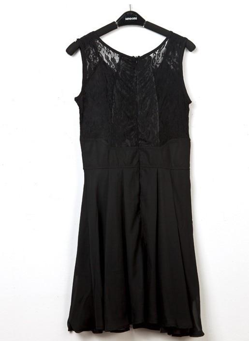 зима осень женская новое поступление европейский мода без рукавов с кружевами сбор талии платья
