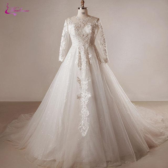 Waulizane Plus Size Dress Fabulous High Collar A Line Wedding ...