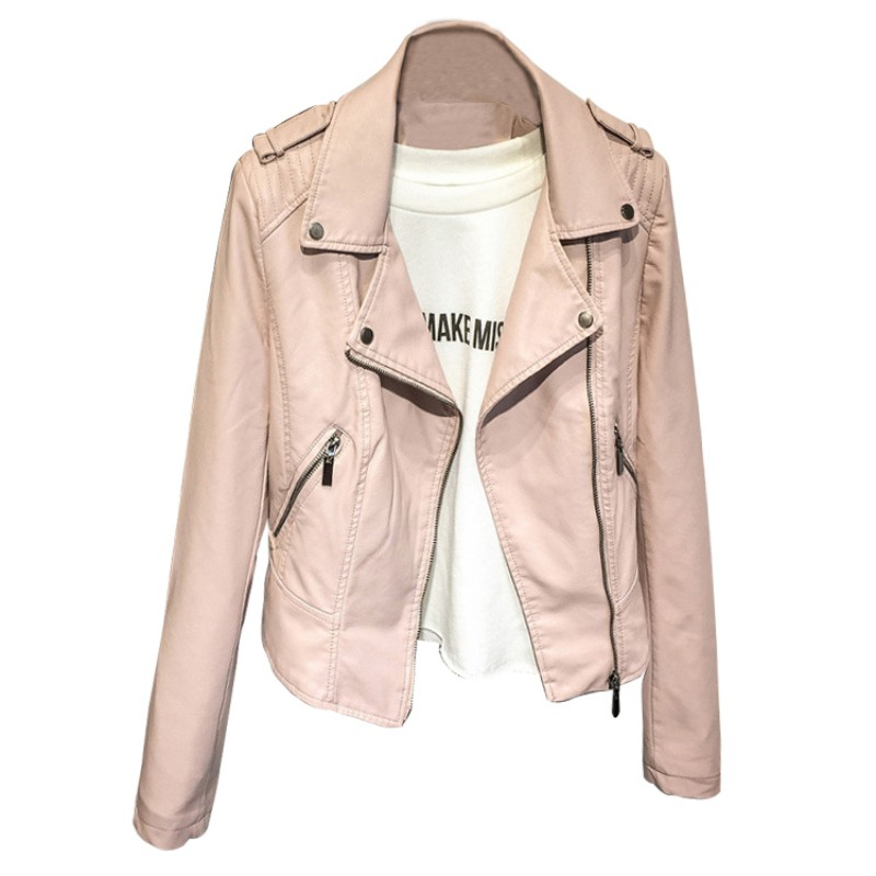 New Design Slim Zipper Motorcycle Cool Jackets Faux Soft Leather Crops Tops Spring Autumn Pu Leather Jacket