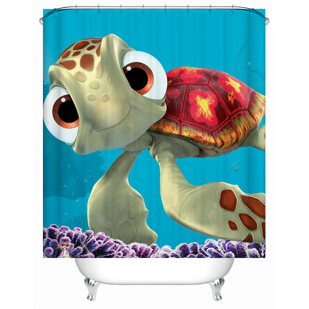 Cute Turtle Shower Curtain Blue Sea Animal Pattern Waterproof Bathroom  Curtain For Kids Bath Gift(