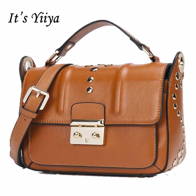 It's YiiYa Hot 3 Colors Women Genuine Leather HandBag Fashion Casual Girls Handbags Crossbody Bag Messenger Bags SS872