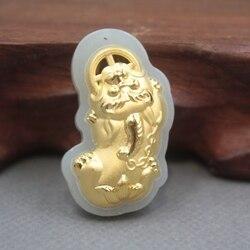 Yeni 24 K Sarı Altın Doğal Jadeite Yeşim Kadın Erkek Pixiu Korusun Kolye 35x20mm