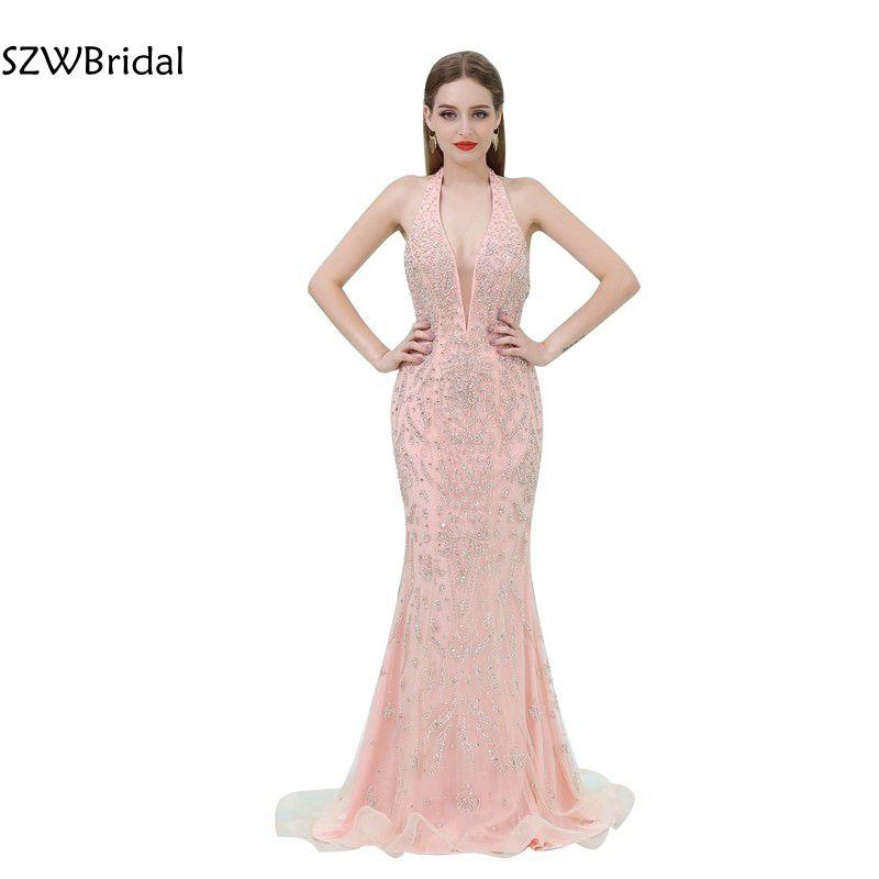 Vestido de festa Tulle Beaded Pink   Evening     dresses   In Stock Backless Kaftan Mermaid   evening   gowns Vestidos de festa