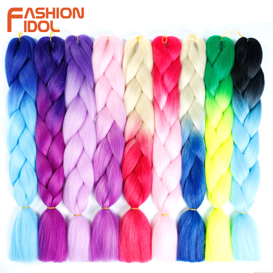 FASHION IDOL Synthetic Braiding Hair Ombre Kanekalon 24 Inch 100g/Pack Blonde Grey Crochet Braids Hair Extensions Jumbo Braids