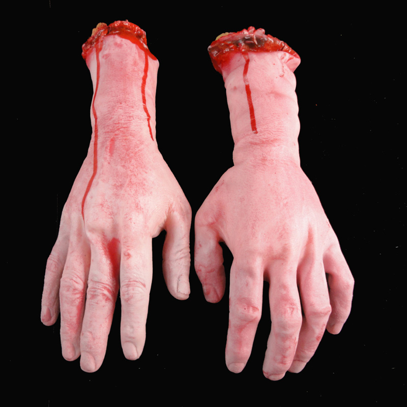 Horror Trick Toy Scary Prop Latex Stump Bloody Cut Hand Feet Bone Halloween Gift Practical Joke Rubber Artificial Funny @ZJF