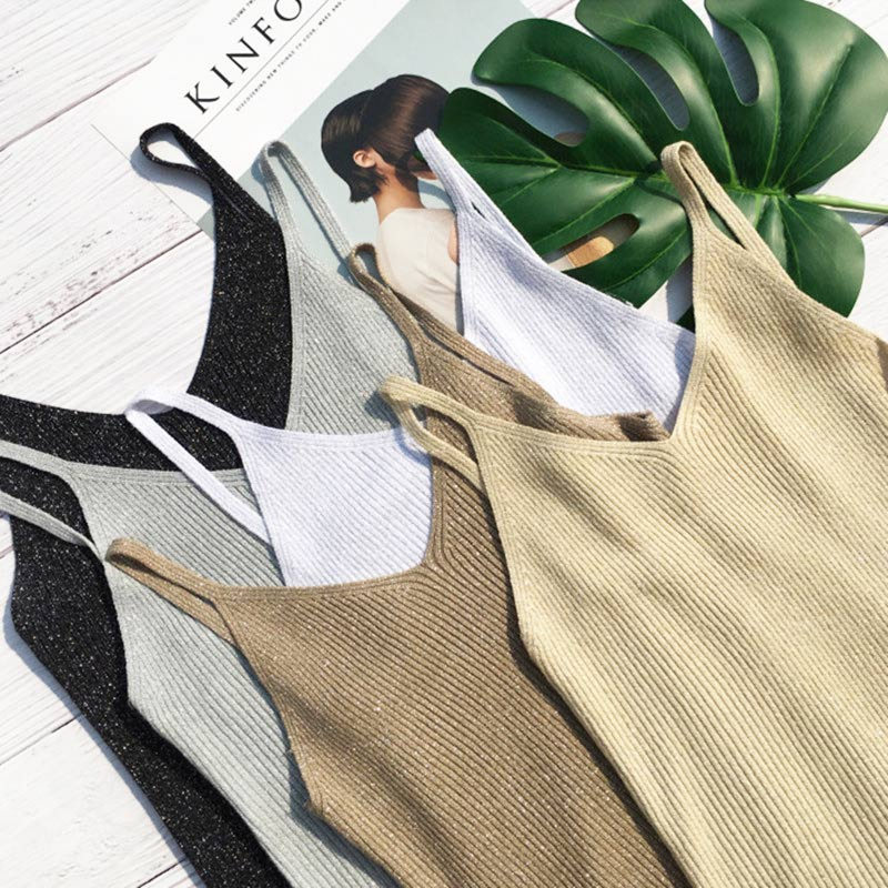 Women's Knitted Ribbed Crop   Tops   Camis Gold Thread Sleeveless White   Tank     Top   Women 2019 Summer Sexy Backless Black   Tanks   Female