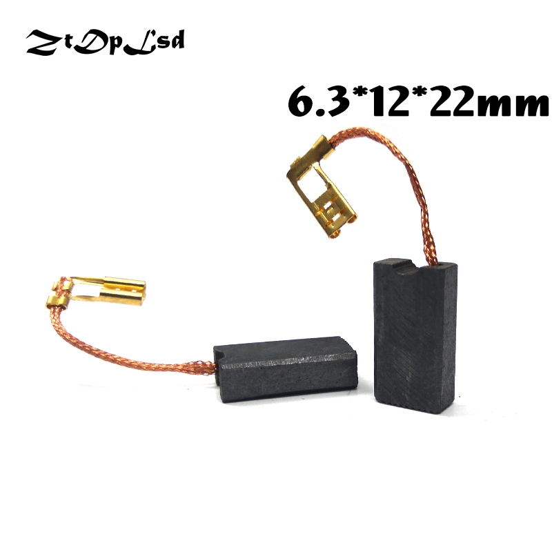 ZtDpLsd 2 Pcs/Pairs 6.3x12x22mm Mini Drill Electric Grinder Replacement Carbon Brushes Spare Parts For Electric Rotary Tool