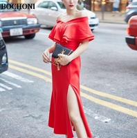BOCHONI 2018 new Open fork hip sexy strapless long dress custom dress