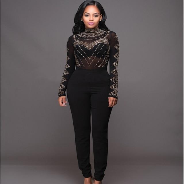 Formal Elegant Bandage Jumpsuit And Rompers Women Black Luxury