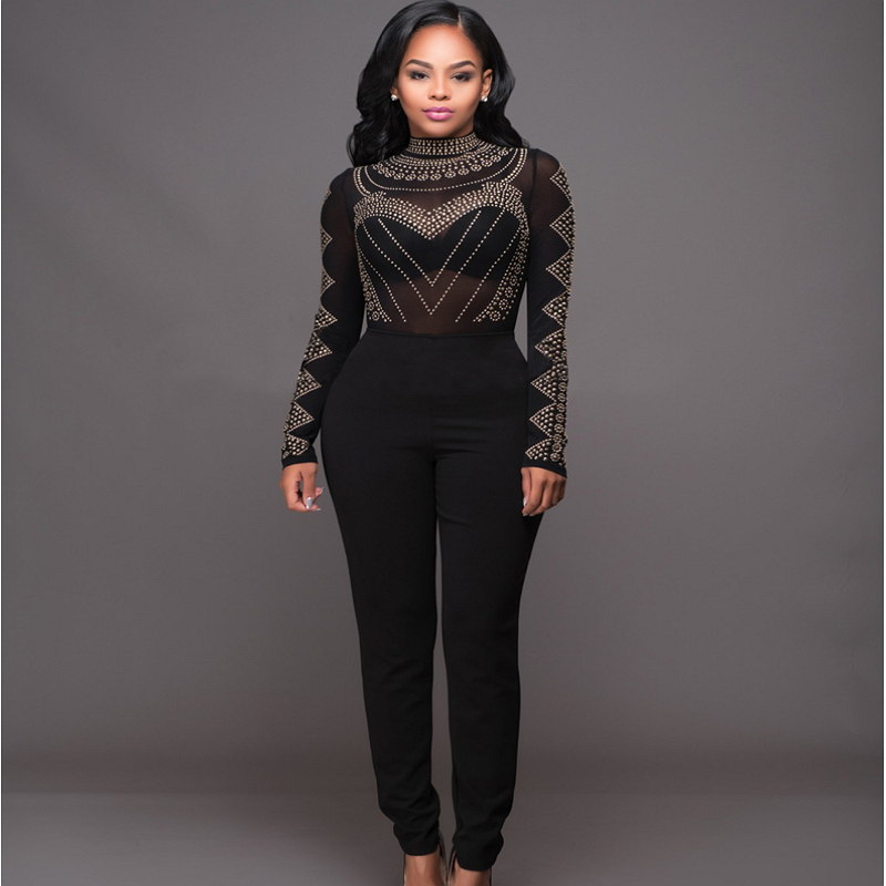 Formal Elegant Bandage Jumpsuit And Rompers Women Black Luxury Overalls  WorkWear Beaded Sequins Plus Size Sheer - Popular Black Sheer Bodysuit-Buy Cheap Black Sheer Bodysuit Lots