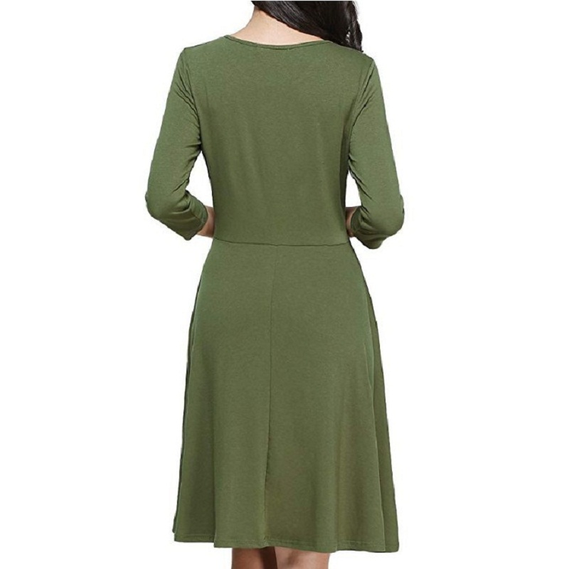 Women 39 s Dresses Autumn and Winter A shaped Dresses Seven Sleeve Pure color Dresses in Dresses from Women 39 s Clothing