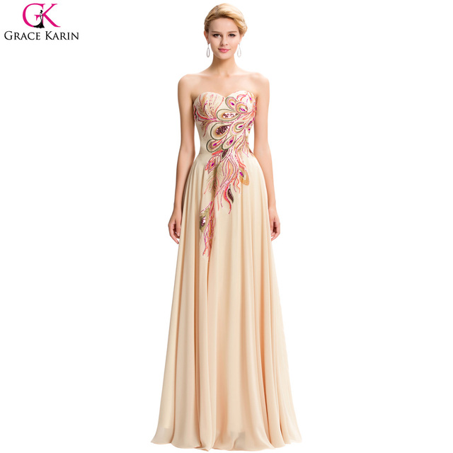 Grace Karin Evening Dress Plus Size Chiffon Strapless Robe Peacock Elegant  Formal Occasion Long Dresses For Wedding Party Gowns ac93c56b7423